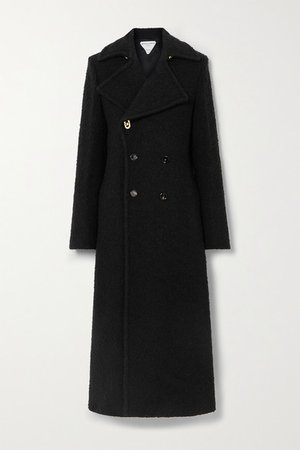 Double-breasted Boucle Coat - Black