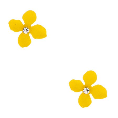 Silver Crystal Flower Stud Earrings - Yellow | Claire's US