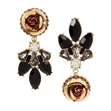 Betsey Johnson Rose Mismatch Drop Earrings, Jet, One Size: Clothing