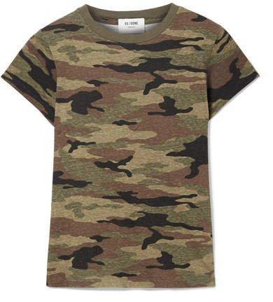 Camouflage-print Slub Cotton-jersey T-shirt - Army green