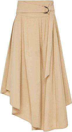 Cotton Poplin Asymmetric Hem Wrap Skirt