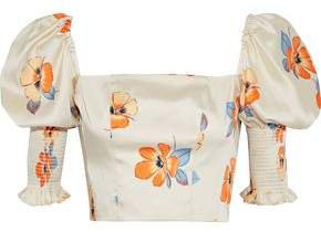 Cropped Shirred Floral-print Satin-twill Top