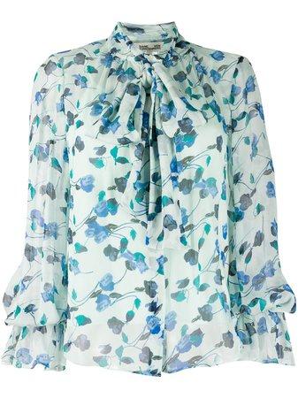 Shop blue DVF Diane von Furstenberg floral bow tie shirtwith Express Delivery - Farfetch
