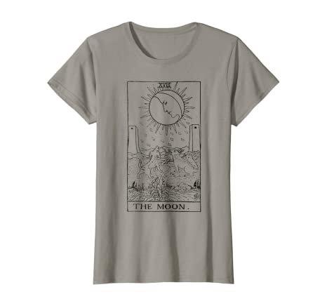 Amazon.com: The Moon Tarot Card Vintage T-Shirt: Clothing