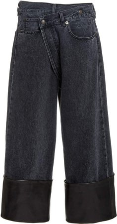 R13 Crossover Leather-Cuff Wide-Leg Jeans