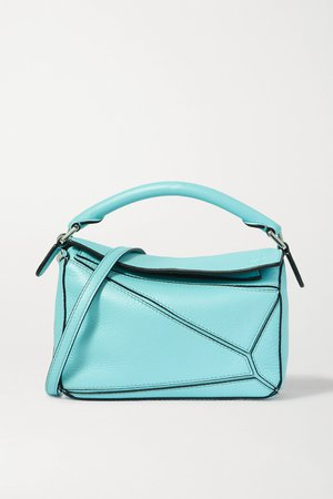 Blue Puzzle mini textured-leather shoulder bag | Loewe | NET-A-PORTER