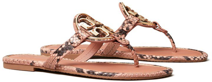 Miller Metal-Logo Sandal, Embossed Leather