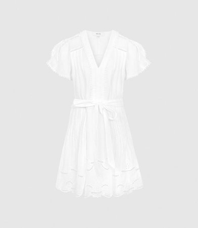 Gemina White Embroidered Mini Dress – REISS