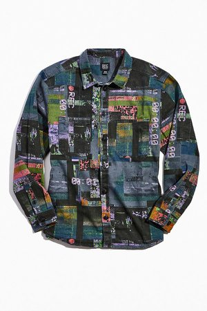 BDG Glitch Cowboy Print Button-Down Overshirt | Urban Outfitters