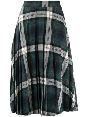 Green Semicouture Plaid Midi Skirt | Farfetch.com