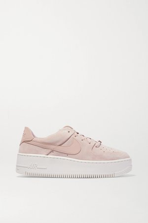 Sand Air Force 1 Sage suede sneakers | Nike | NET-A-PORTER