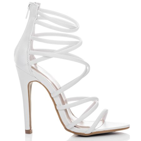SpyLoveBuy UZI Open Peep Toe High Heel Stiletto Strappy Sandals Shoes - White Leather Style