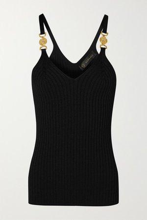 Embellished Ribbed-knit Camisole - Black