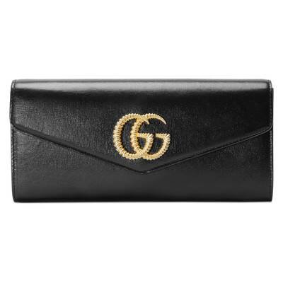 Black Leather Broadway Clutch With Double G   GUCCI® US