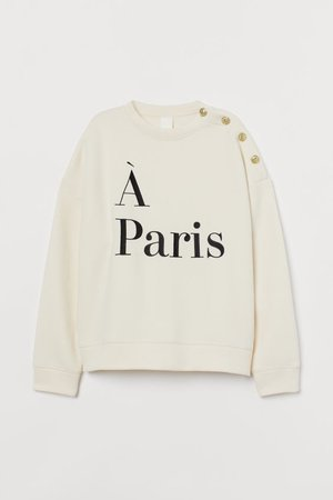 Text-motif sweatshirt - Cream/À Paris - | H&M