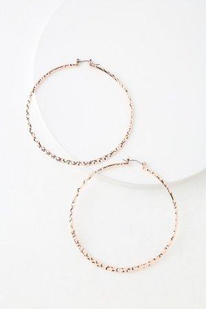 Cute Rose Gold Earrings - Hammered Hoop Earrings - Hoop Earrings