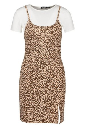 Leopard Cami T-shirt Slip Dress | Boohoo