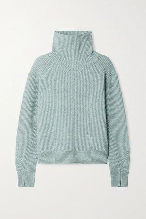 Teal Pierce ribbed cashmere turtleneck sweater | rag & bone | NET-A-PORTER