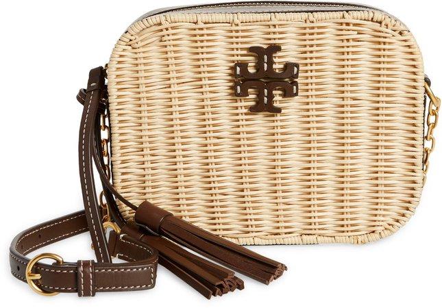 McGraw Wicker & Leather Camera Crossbody Bag