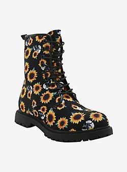 Skull Floral Combat Boots