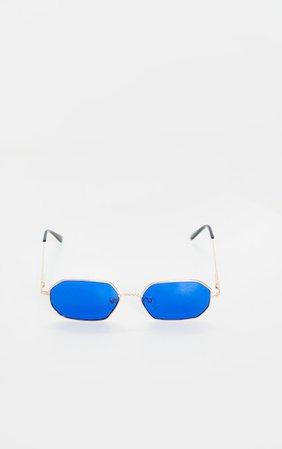 Gold Trim Blue Lens Hexagon Sunglasses | PrettyLittleThing