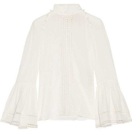 FENDI Crochet-trimmed silk crepe de chine blouse