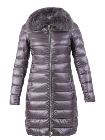 Herno Grey Fur Detail Padded Jacket
