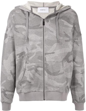 Ports V camouflage zip-up hoodie