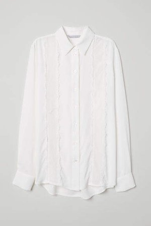 Blouse with Lace Embroidery - White