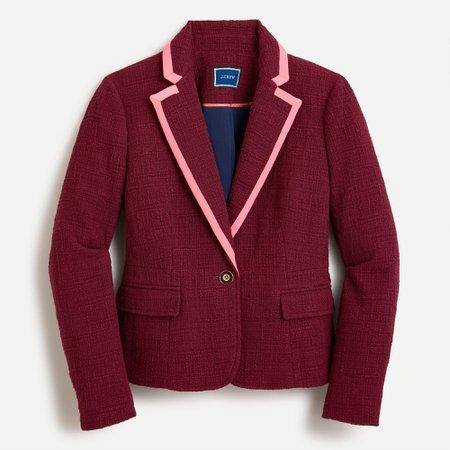 J.Crew: Peplum Blazer In Textured Tweed in Vintage Burgundy