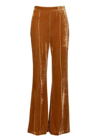 Free Bird 70s High Waist Mustard Yellow Velvet Flare Bell Bottom Pants