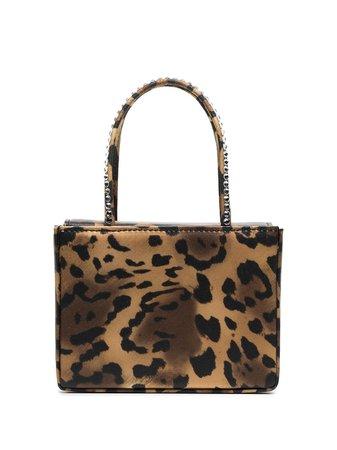Shop brown Amina Muaddi leopard print satin mini bag with Express Delivery - Farfetch