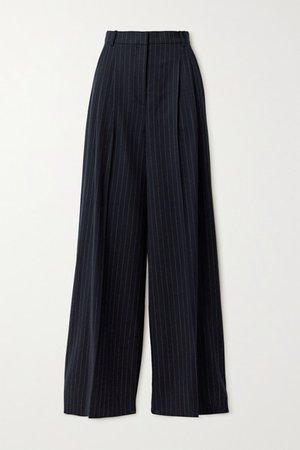 Tima Pinstriped Wool-blend Flannel Wide-leg Pants - Navy