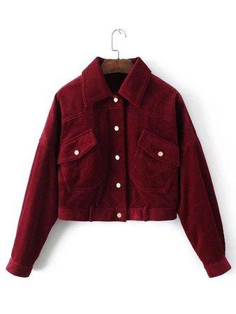 Burgundy Collared Flap Pocket Corduroy Jacket