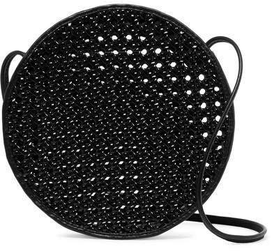 Tiki Woven Pvc And Leather Shoulder Bag - Black