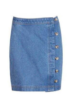 Tall Denim Button Front Mini Skirt | boohoo