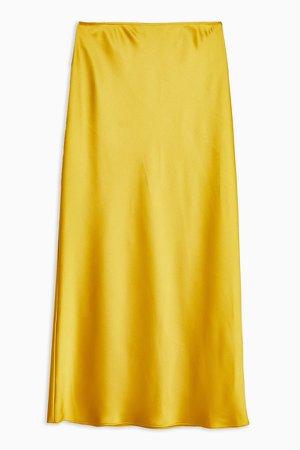 Chartreuse Satin Bias Maxi Skirt