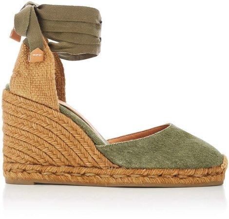 Carina Tie Canvas Espadrille Wedge Sandals
