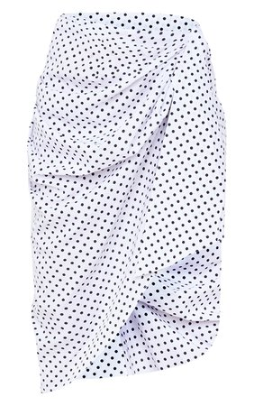 White Polka Dot Extreme Wrap Over Midi Skirt | PrettyLittleThing USA