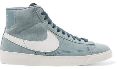 Blazer Faux Suede And Leather High-top Sneakers - Gray