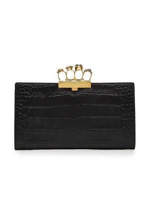 Embossed Leather Knuckle Clutch Gr. One Size