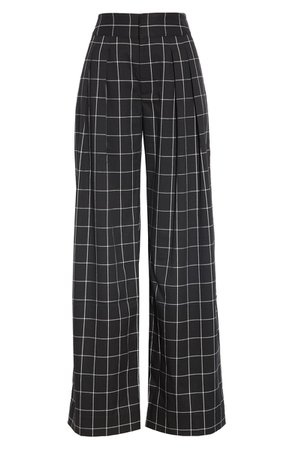 Joie Windowpane Check Wide Leg Pants | Nordstrom