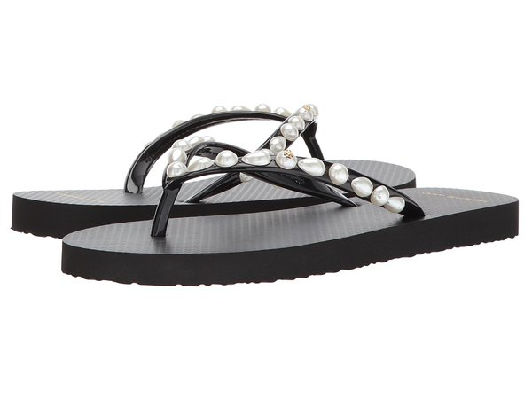 Tory Burch - Thin Flip Flop (Pearl/Black) Women's Sandals