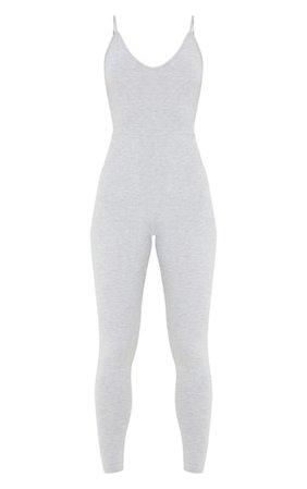 Grey Marl Basic Strappy Plunge Jumpsuit | PrettyLittleThing