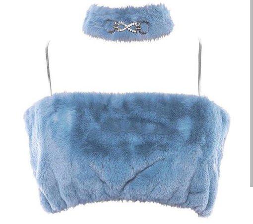 blue velvet crop top with choker