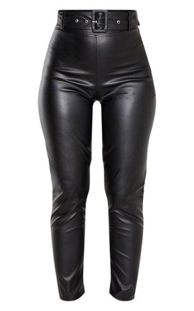 Black Faux Leather Belted Skinny Pants