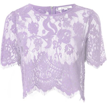 Lilac Sheer Lace Crop Top