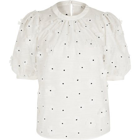 White flower embellished puff sleeve T-shirt | River Island