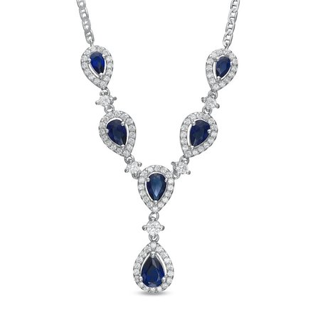 """Pear-Shaped Lab-Created Blue Sapphire and White Sapphire Drop Necklace in Sterling Silver - 15"""" 