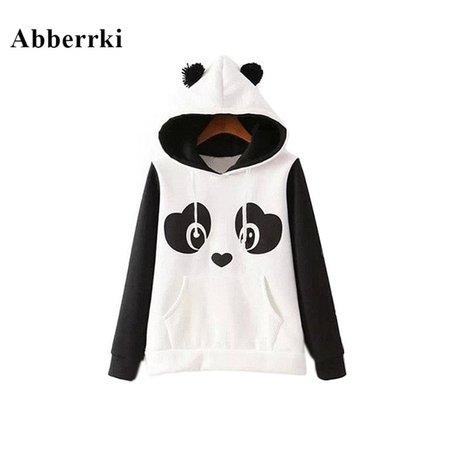 New Female Tops Coat Cute Cartoon Panda Hoodies Women Loose Fleece Pullover Sweatshirt White Hoodie-in Hoodies & Sweatshirts from Women's Clothing on Aliexpress.com | Alibaba Group
